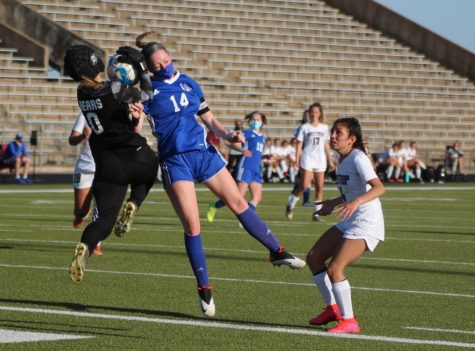 Senior Avery Miller attempts a header in  the Bi-district playoffs against Bastrop High School on March 26. Photo by David Winter.