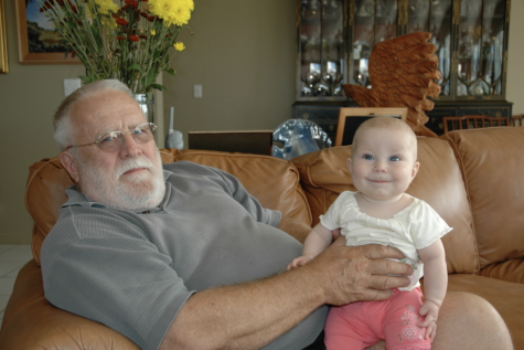 Love at first sight: Grandpa and I meet each other for the first time at his home in Key Largo, Fla.