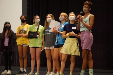 Senior Bobbie Currie and his PALS peers were masked up in the MAC as they spoke to sophomores and new juniors and seniors at the afternoon orientation session on Wednesday, August 4.