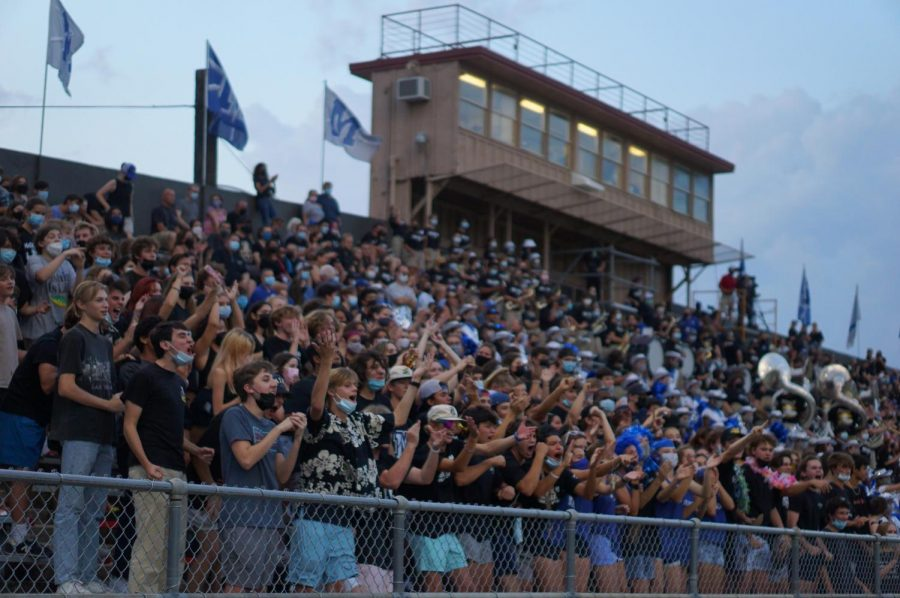 The McCallum student section at the 2021 Taco Shack Bowl game. Capacity was not restricted, and while the stadium policy required masks, not everyone wore them.