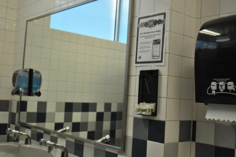 """A soap dispenser removed from the wall in a McCallum restroom. This has occasionally been an issue in past years, however, with devious licks becoming so popular, custodial staff has been unable to keep up with demand. """"Right now, there is a backorder of soap,"""" head custodian Daniel Cena said. """"Most of the time, its not a big deal because we have enough, but we actually ran out and we had to call the service centre and ask them for some emergency soap."""""""