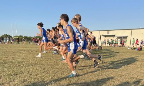 Senior Thomas Melina Raab separates from the field at the start of the Liberty Hill HS Cross Country Meet Saturday morning at Liberty Junior High School. Melina Raab ran in the lead pack throughout the race but made his big move late, advancing from about 20th all the way to second place.