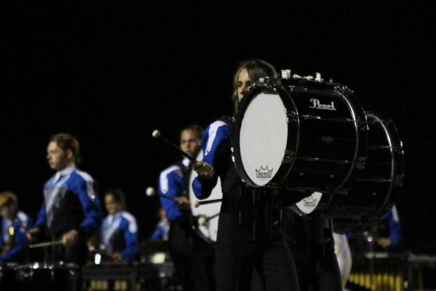 Freshman+Jake+Stagg-Ricketts+plays+bass+drum+at+the+Capital+City+Marching+Festival.on+Sept.+25%0Aat+Burger+Stadium.+%0APhoto+by+Morgan+Eye.+
