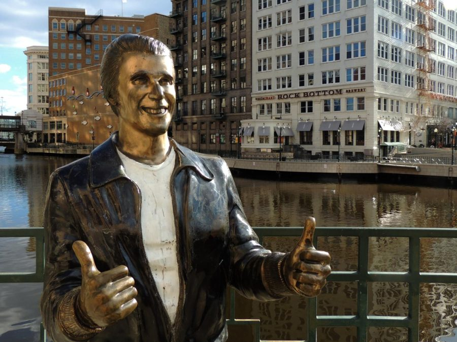 A commemorative statue of Happy Days central character Arthur Fonzarelli can be found in downtown Milwaukee Image from March 2016 accessed on the Flickr account of photographer John W. Iwanski. Reposted here with permission under a creative commons license.