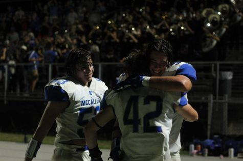 Seniors Johan Holmes, Jake Hissey and Cooper Borman celebrate the victory over Marble Falls. It was a pretty amazing game, Hissey said. We were able to hold the ball for awhile and run down the clock. Both Hissey and Holmes are excited for the momentum this will bring into next weeks matchup versus Liberty Hill. Last week if you wouldve asked me about the Liberty Hill game I would be super skeptical about our chances to do anything, Holmes said. But after that victory against a similar but worse team and a good week of practice I am excited.